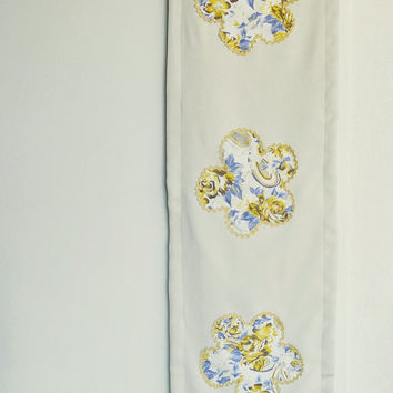 Cream Table Runner with Floral Applique Embellishment