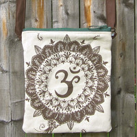 OM Divine Energy Zippy Bag in Ivory and Brown