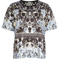 River Island Womens Black textured floral print t-shirt