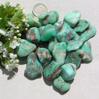 6 Green Chrysoprase Crystal Tumblestones - Last Crystals in Stock