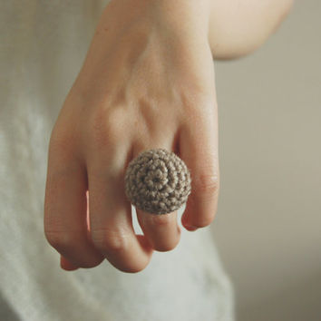 Beige Crochet Ring, Wool Jewelry, Anniversary Gift, Gift for her