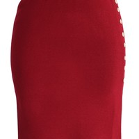 Studs Knitted Pencil Skirt in Wine Red S/M