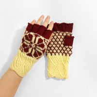Hand Knitted Fingerless Gloves - Cream and Red, Size Small