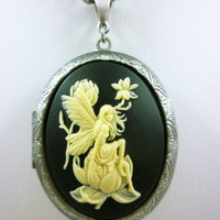 Neo-Victorian Fairy Resting on Thistle Silver Finished Locket