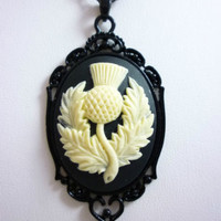 Scottish Thistle Cameo Necklace w/ Black Scroll Setting