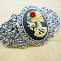 Goth Lolita Women's Skeleton Cameo Barrette Silver Pated w/ Rose in Hair