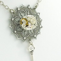 SteamPunk Neo-Victorian Necklace w/ Vintage Watch Movement and Skeleton Key