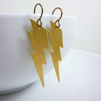Shazam Captain Marvel DC Comic Super Hero Brass Dangle Earrings