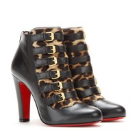 Attroupée 100 leather and pony-hair ankle boots
