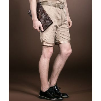 Gold Embroidered Khaki Shorts