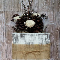 Pinecone Centerpiece with Distressed Wooden Box, Rustic Winter Wedding Decor, Wedding Centerpiece, Holiday Centerpiece, Shabby Chic Decor
