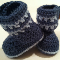 Little Boy Blue Booties for Babies, Crochet Pattern PDF 12-037