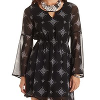 Floral Skater Dress with Sheer Sleeves - Black Combo