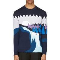 Kenzo Blue And Purple Twin Peaks River Sweater