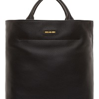 Mcq Alexander Mcqueen Black Pebbled Leather Tote