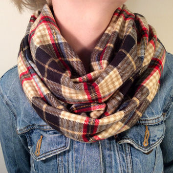 Handmade Infinity Scarf Plaid Flannel - Super Warm Double  Layer Circle Scarf -  Black, Red, Tan, Christmas Present, Holiday Gift