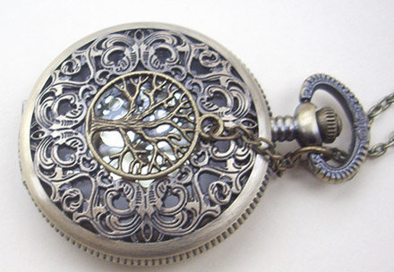 hollow golden dial Pocket watch(big size) Locket Necklace,with a tree