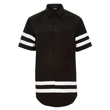 Short-Sleeve Striped Button-Up
