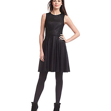 Belle Badgley Mischka Braided Knit Fit-and-Flare Dress - Black
