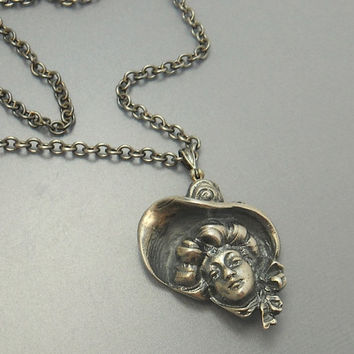Vintage Sterling Silver Gibson Girl Pendant Necklace Victorian Lady