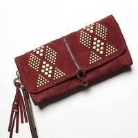 Free People Diamond Suede Clutch