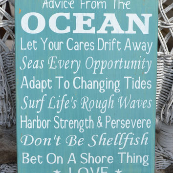 Advice From The Ocean Wood Sign Love