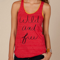 Wild And FREE ...  Girls Ladies Heathered Tank Top Shirt silkscreen screenprint Alternative Apparel