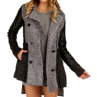 Charcoal Faux Leather Wool Blend Coat