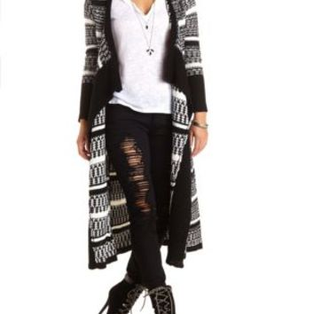 Striped Cascade Duster Cardigan by Charlotte Russe - Black Combo