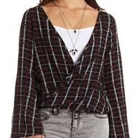 Long Sleeve Plaid Wrap Top by Charlotte Russe - Black Combo