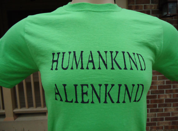 Tshirt Mens Alien Science Humankind Alienkind Short Sleeves Animal Rights Gender Human Equality Relationships Geek UFO T shirt 130