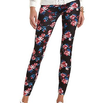 Cotton Floral Printed Leggings by Charlotte Russe - Black Combo
