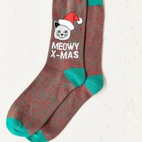 Meowy Xmas Sock- Red Multi One Size- Red Multi One