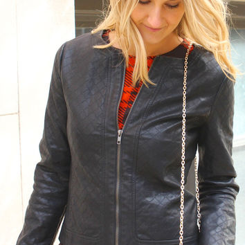 Front Zip Quilted Faux Leather Jacket - Black – H.C.B.
