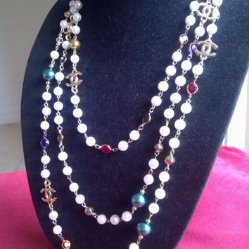 Spectacular CHANEL Inspired Mademoiselle Pearl & Crystal necklace