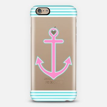 Pink and Blue Nautical Love Transparent iPhone 6 case by Organic Saturation | Casetify