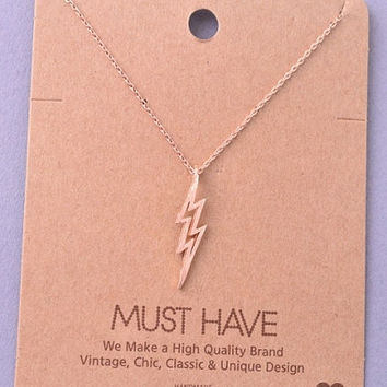 Dainty Lightning Bolt Charm Necklace - Gold, Rose Gold or Silver – H.C.B.