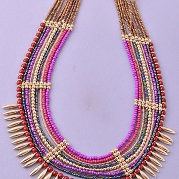 Tribal Multi Strand Beaded Necklace - Purple/Multi – H.C.B.