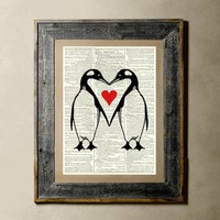 Penguin Love - Printed on a Vintage Dictionary Page 8X10