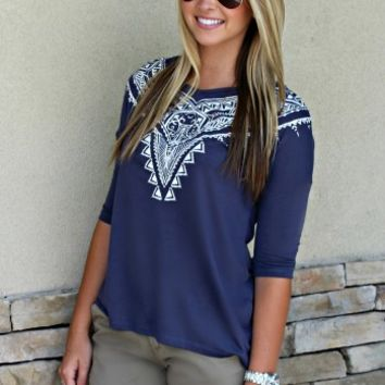 Navy Tribal Print Top