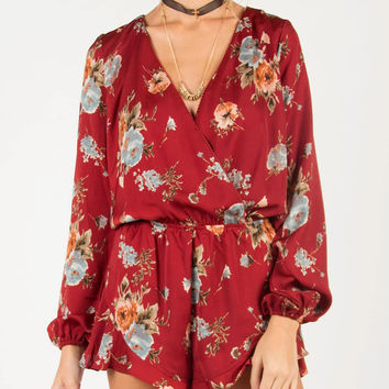 Front Draped Silky Floral Long Sleeve Romper - Wine - Wine /