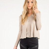 Long Sleeve Henley Top - Taupe - Taupe /