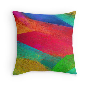 Abstract Colorful Stripes Throw Pillow