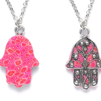 Pink Hamsa Hand Pendant Necklace - Fleur de Lis Silver Overlay - Polymer Clay Millefiori - FREE SHIPPING