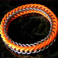 Glow In The Dark -  Orange & Galvi Stretchy Bracelet