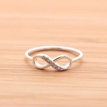 INFINITY ring with crystals in silver by bythecoco on Zibbet