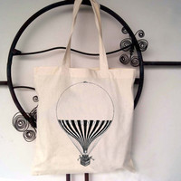 Balloon Cotton Canvas Tote Bag:  Steampunk Vintage Screen Print