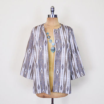 Vintage 70s Beige Southwestern Jacket Blouse Top Southwest Jacket Tribal Jacket Tribal Print Jacket 3/4 Sleeve 70s Boho Jacket M Medium