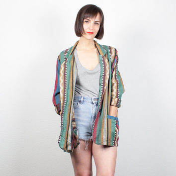 Vintage Southwestern Striped Blazer Jacket 1980s Blazer 80s Jacket Boho South Western Stripe Embroidered Boho Boyfriend Blazer M L Large XL