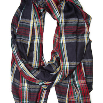 FOREVER 21 Tartan Plaid Scarf Navy/Red One